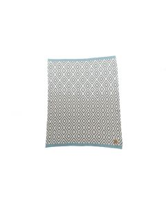 Niu Org. Cotton Blanket Geo Pattern Blue