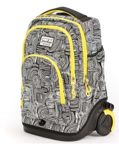Stardust 2in1 Backpack and Trolley Black with White Lines